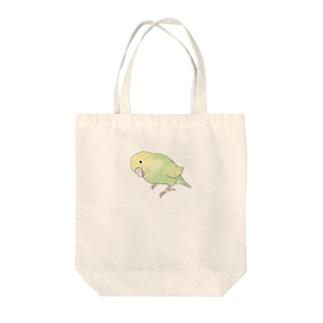 首傾げ スパングルセキセイインコちゃん【まめるりはことり】 Tote bags