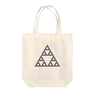 Fractal Sierpinski Triangle Tote bags