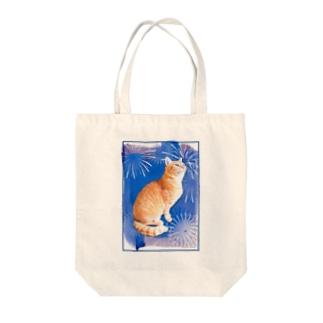 茶トラにゃんこ 花火 Tote bags