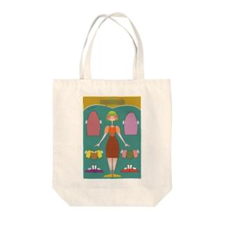 ペーパードール GREEN Tote bags