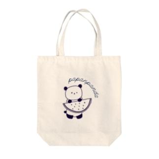 パパンパンダのスイカ持つパンダ ネイビー Tote Bag