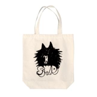 SAIWAI DESIGN STOREの吠えるクロネコ Tote bags