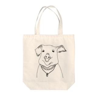 ぶたおばさん Tote bags