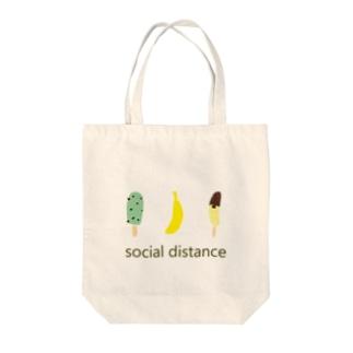 バナナとアイスのソーシャルディスタンス Tote bags
