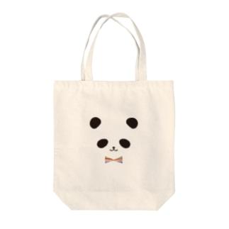 カラフル蝶ネクタイ パンダ Tote bags