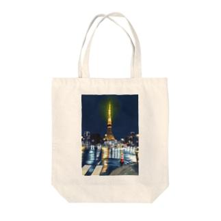 東京タワー×カラーコーン Tote bags