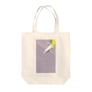 【イラスト】駐輪場の白猫 Tote bags