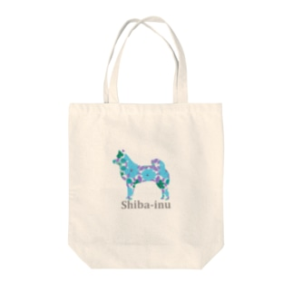 花 柴犬 Tote bags