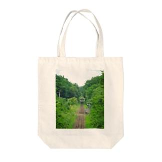 夏の単線 in北海道 Tote bags