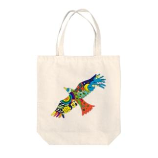 虹色の飛ぶ鳥 Tote bags