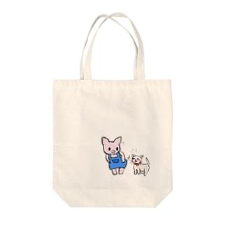 ブタのぶーたとネコのあずき Tote bags