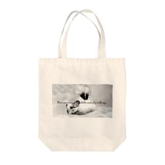 空飛ぶチンチラ Tote bags