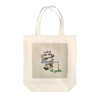 ネコのお師匠さん Tote bags