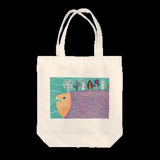 服部奈々子のさかなの森 Tote bags