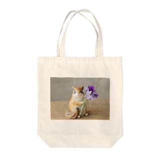 シマリスとお花(スミレ) Tote bags