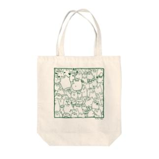 二匹のトートバッグ(緑) Tote bags