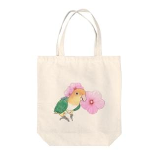 お花とシロハラインコちゃん【まめるりはことり】 Tote bags
