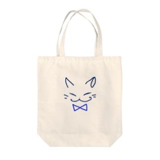 ネコ(blue) Tote bags