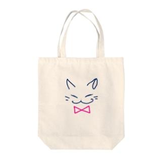 ネコ(pink) Tote bags