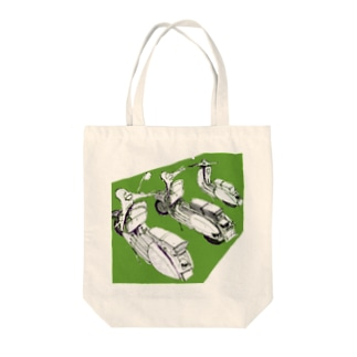 vespa風ビンテージバイク緑 Tote bags