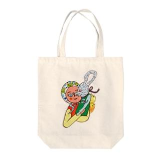 カエル頭巾の少女とネズミ Tote bags