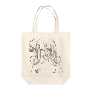 巻き髪の女(白黒) Tote bags