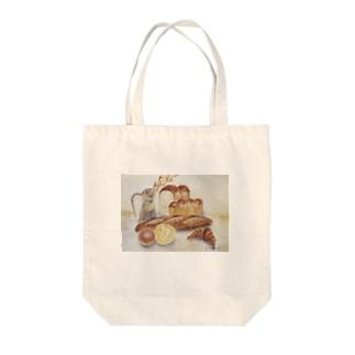 おじいちゃん店長のまちのちいさなパン屋さんのパントートバッグ Tote bags