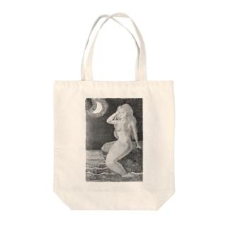 月と人魚(モノクロ) Tote bags