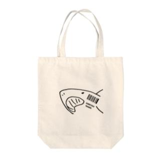@miのバーコードシャーク Tote bags