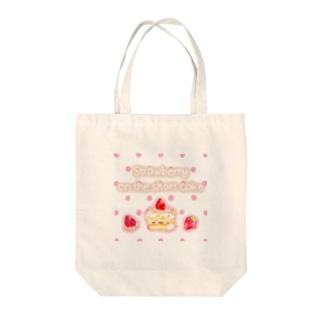 どるちぇ*うさぎの《フード01》*苺のショートケーキ*白ピンクドット Tote bags