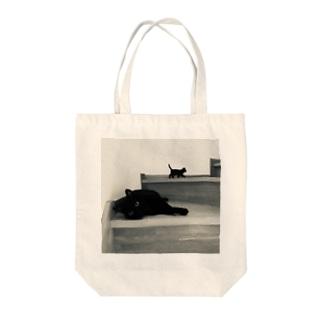 黒猫ちゃんのつどい モノクロ Tote bags