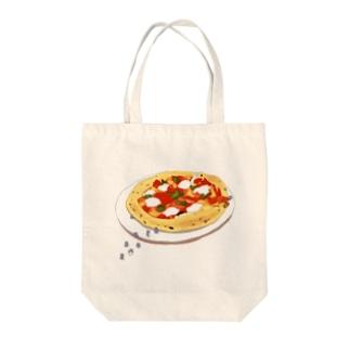 ピザとペンギン Tote bags