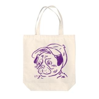 スマホdeイラストレーター・古川 セイのキャップを被ったパグ Tote bags