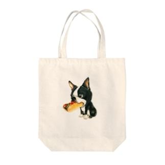 ボストンテリア×ホットドッグ Tote bags