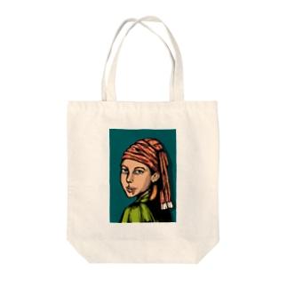 柿の種の耳飾りの少女 Tote bags