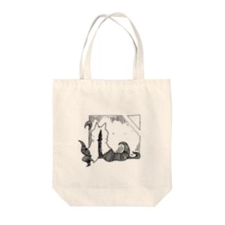 冒涜的な猫ハス(色なし) Tote bags