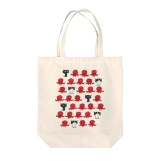 陶器絵の猫とタコ Tote bags