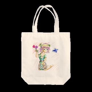 hujiyamakenjiのお花ガール Tote bags
