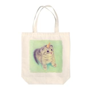 萌獣 猫 ユニャコーン/ゆにゃんこ:とんがりコーン Tote bags