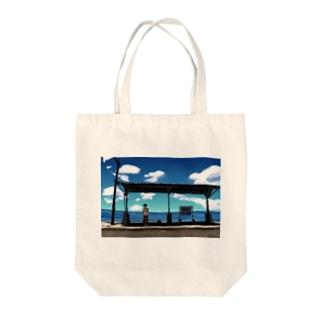 青の駅 Tote bags