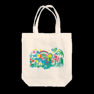 ツルマルデザインのお花畑 Tote bags