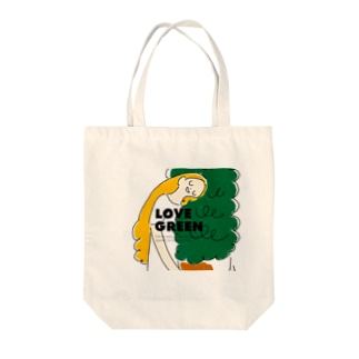 LOVE GREEN with logo Tote bags