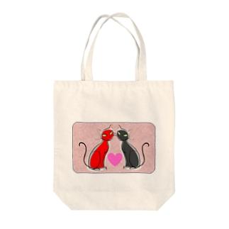 赤黒 ラブリー猫 Tote bags