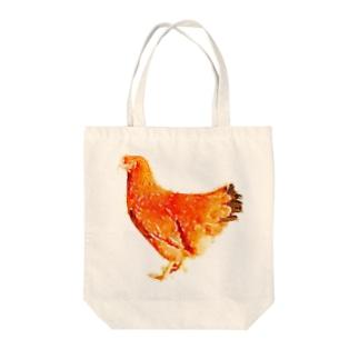 ニワトリ Tote bags