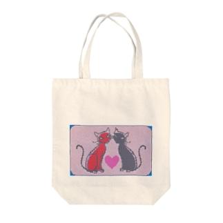 ラインストーン風 赤黒猫ラブ Tote bags