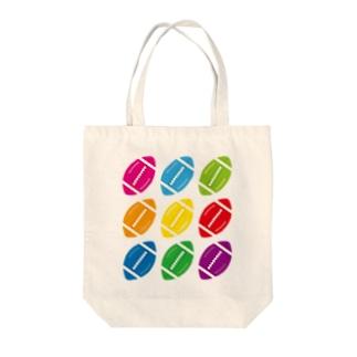 カラフルラグビーボール Tote bags