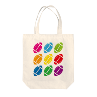 フォーヴァのカラフルラグビーボール Tote bags