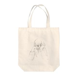 泣くの我慢女子 Tote bags