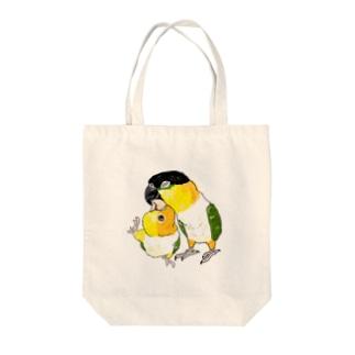 シロハラインコ ラブ Tote bags