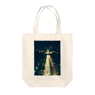 夜のシャンゼリゼ通り Tote bags